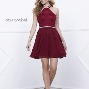 Short Halter Burg Chiffon Dress with Lace size XL